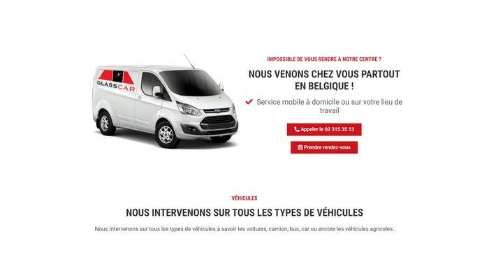 Création du site internet de Glasscar Belgium